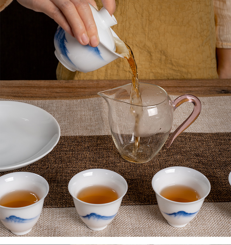 Three frequently hall jingdezhen blue and white porcelain tea set the set of white porcelain tureen water qingyun gift packages