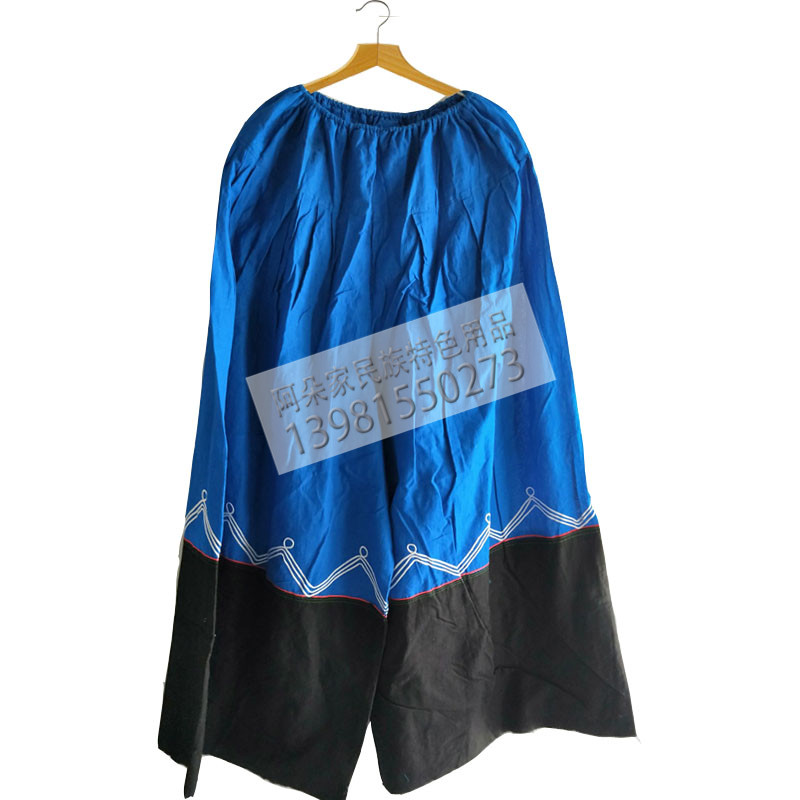 四川凉山彝族服装男人大裤脚蓝色裙裤大脚裤子蓝色黑彝舞蹈包邮