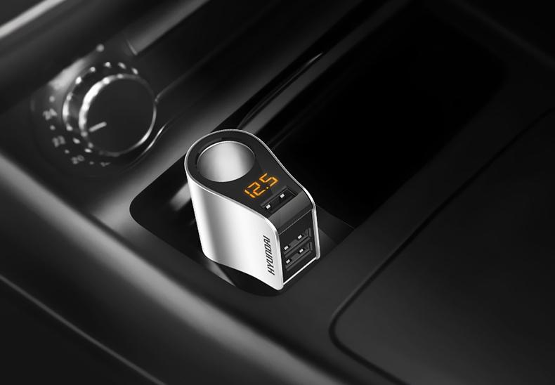 现代车载快充点烟器转接插头充电器汽车一拖二三车充多功能型详细照片