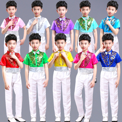 Boys Hip Hop Costume Sequin Shirts White Pants Suit Jazz Costumes Kids Stage Dancing Outfit Children Street Show Wear