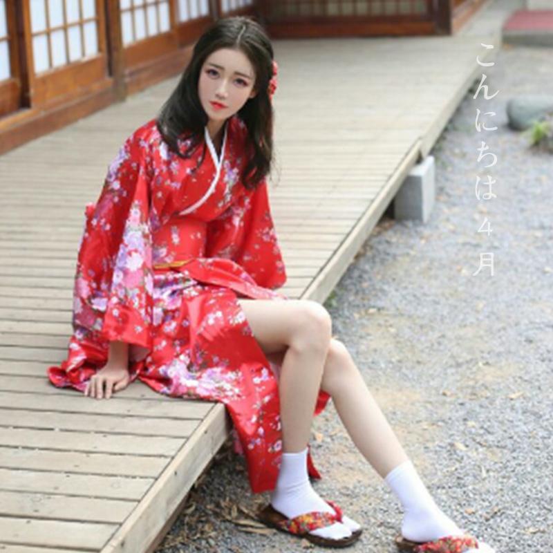 8550924a2247 Japanese women s traditional cherry blossom sleeves Orthodox kimono dress  long paragraph portrait kimono costume yukata robe dress