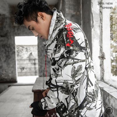 衫仟尺春季新品中国风男装水墨迷彩上衣嘻哈国潮宽松刺绣复古外套