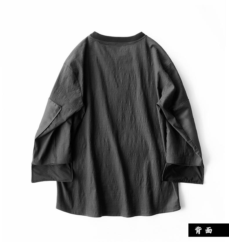 Áo sơ mi Trung Quốc phong cách của nam giới retro đen dài tay t-shirt tiger in cổ tròn bảy điểm tay áo giản dị T-Shirt triều áo thun nam hàng hiệu