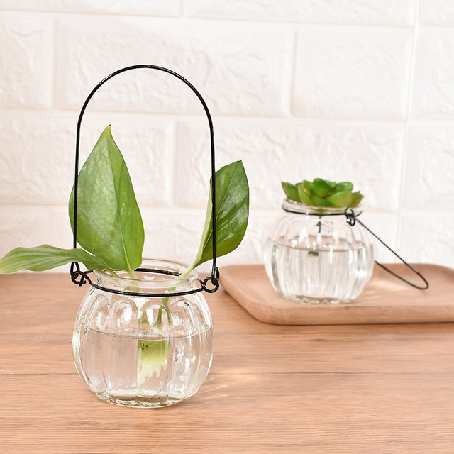 9 installed hanging transparent glass vase small bottle of pumpkin simple hydroponics indoor gardening pots home decoration