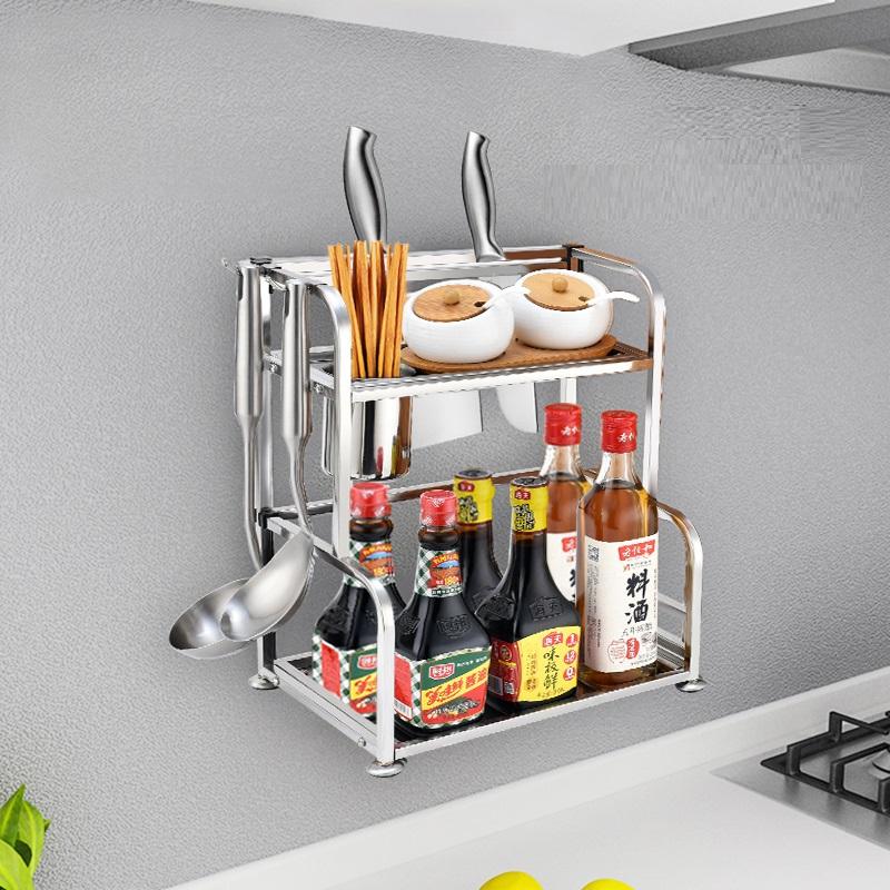 厨房置物架 不锈钢多层加厚壁挂落地调味料架刀架收纳架厨房用品