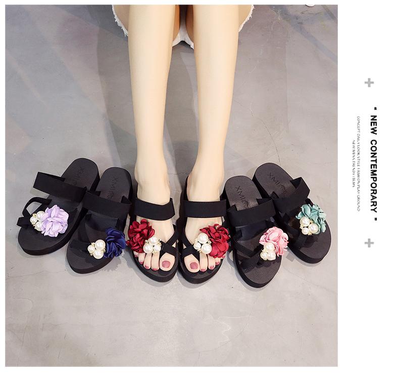 Mới thời trang nữ bên ngoài dép mòn dốc với dép nữ flip flops dép và dép dép Hàn Quốc hoa mùa hè nữ