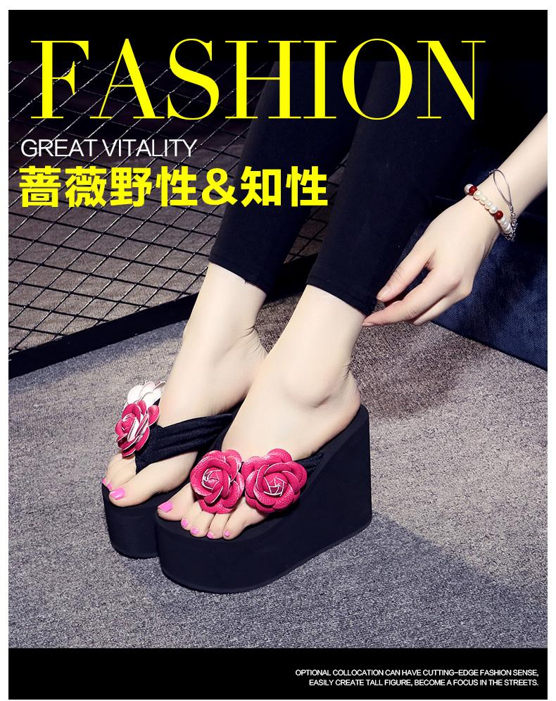 hoa mùa hè thời trang Handmade cao gót dép trượt nữ dốc nặng đáy Hàn Quốc với dép đi biển lật và dép đi trong nhà