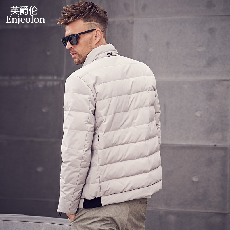 British Mens Down Jacket 2019 spring new men's Korean youth casual white duck down warm thick coat