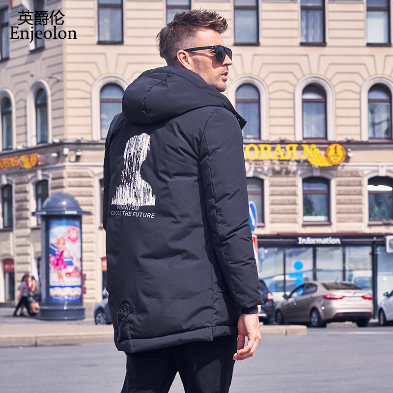 British Mens Down Jacket Winter 2018 New men's hooded long section thickening cold white duck down jacket Jacket