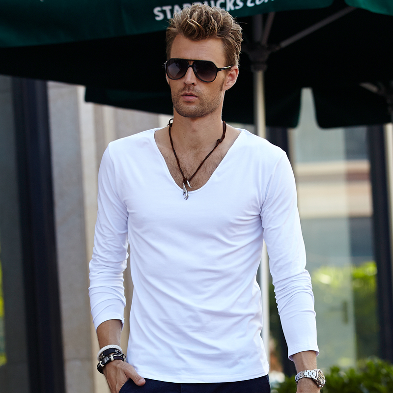 Sweetheart neckline men's long-sleeved T-Shirt men's pure color V-neck spring and autumn Pure white men's clothes bottoming shirt