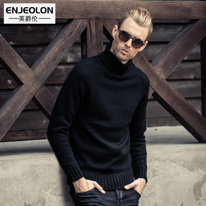 British Jenn Allen European and American minimalist solid color men's warm turtleneck sweater knit cardigan bottoming shirt sweater