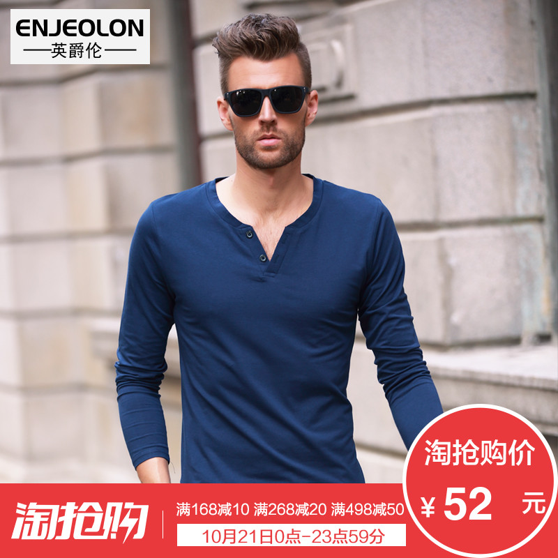 British Viscount slim men's long sleeve t-shirt spring buttons simple solid color men's v neck wind in Europe and America to make shirts