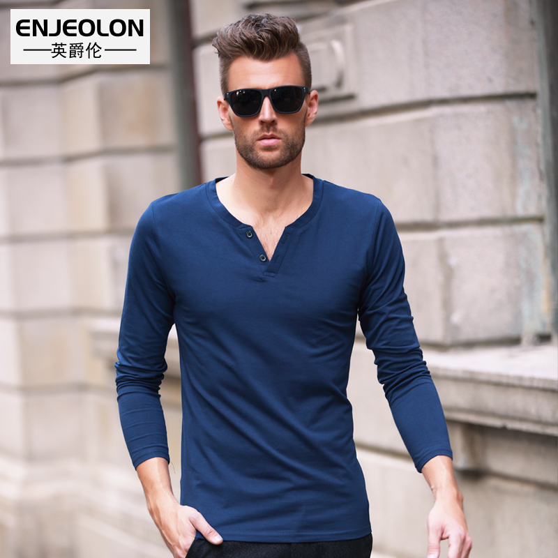 Men's long-sleeved T-Shirt spring slim fit button-up V-neck European style simple solid color men's bottoms