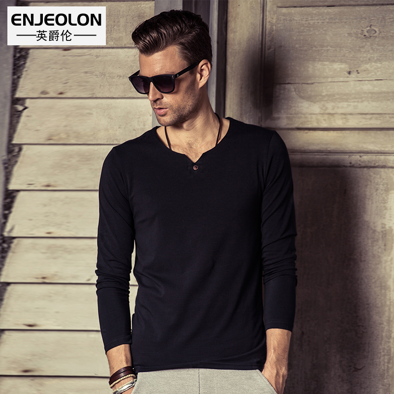 Men's fashion solid color T-Shirt V-neck Europe / America simple button-up long-sleeve bottoming shirt T-Shirt
