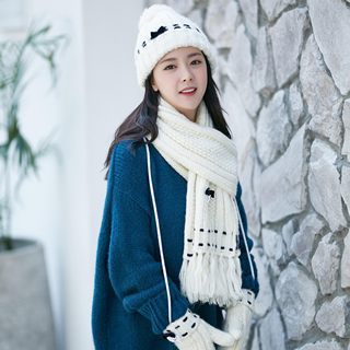 Scarf Hat Gloves Three-piece Women Winter Korean Student Wool Hat Set Book Neck Birthday Gift Box