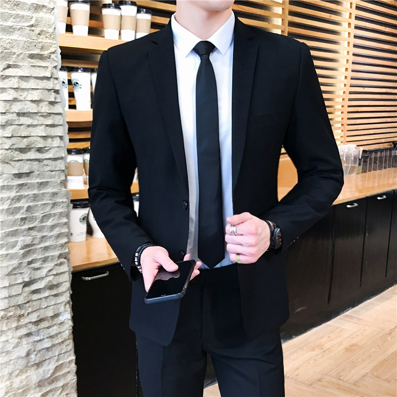 1578 Black Suit With Two Buckles [suit + Trousers + Shirt + Tie + Belt]