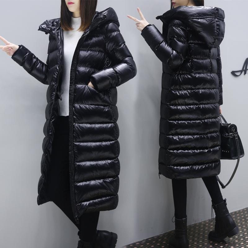 现货反季清仓羽绒棉服面包女2018冬季新款亮面特价服中长款加厚
