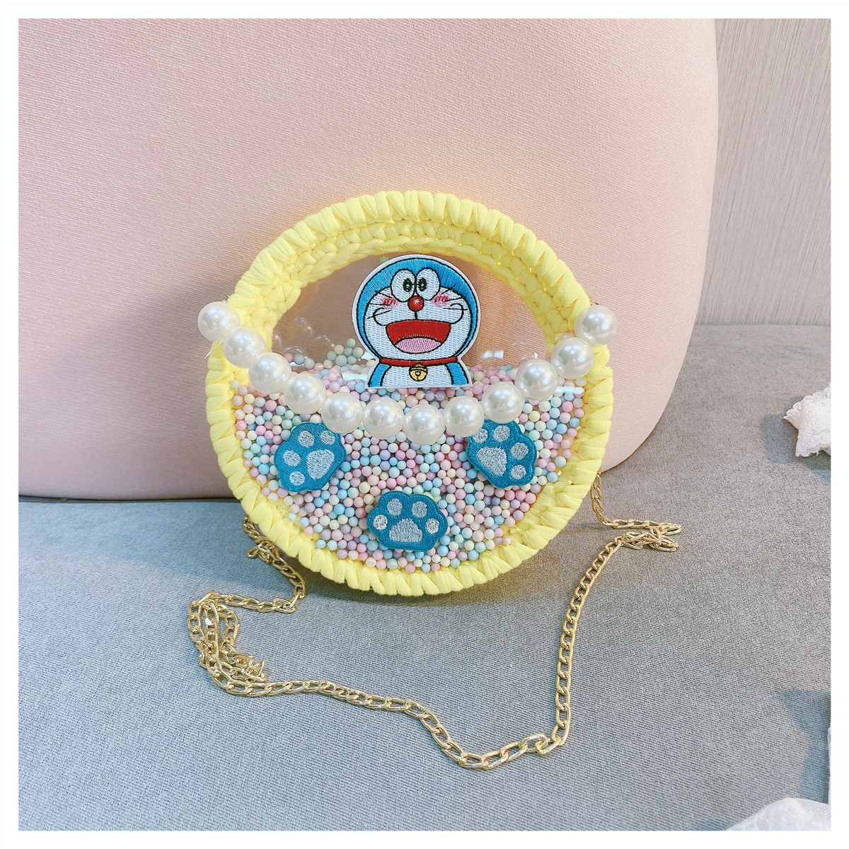 卡通可爱哆啦梦手工编织包包材料包自制手织送女友透明小圆包详细照片