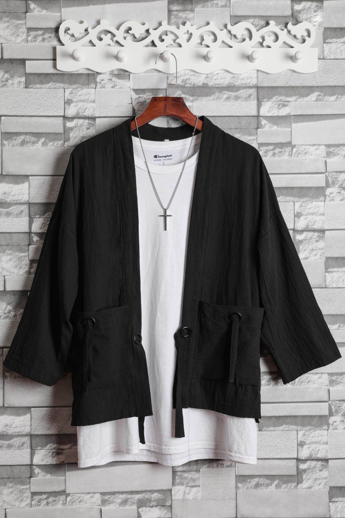 中国风宽松薄款开衫和服式男道袍7七分袖外套大码复古汉服唐装