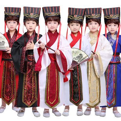 Children's ancient costume knee avoiding male ancient Han costume female schoolgirl straight train deep dress Chinese traditional culture costume performance costume minister