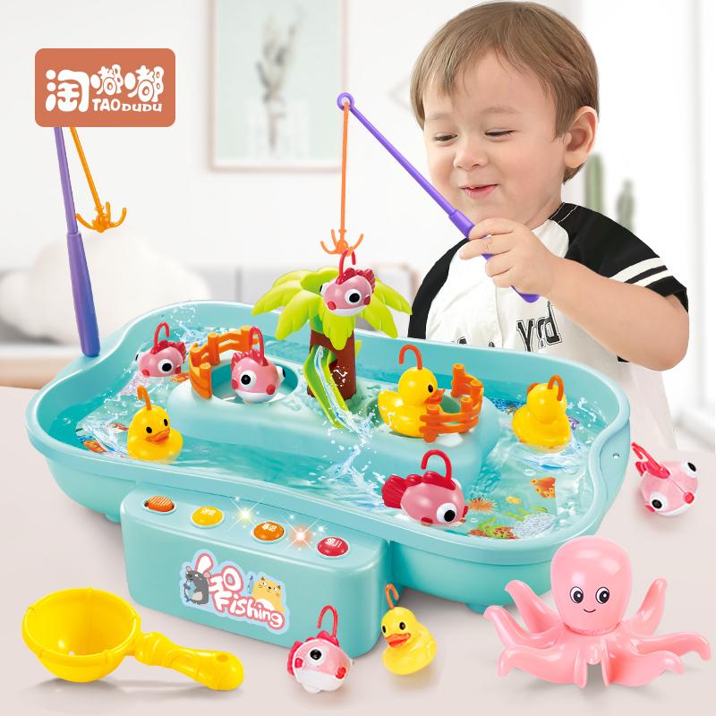 宝宝小猫钓鱼池套装2儿童非磁性小孩电动玩具1-3-6岁益智男孩女孩