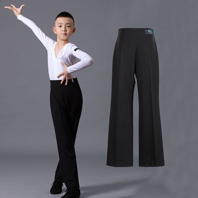 Boys latin dance pants Boys national standard dance clothing standard examination trousers children boys middle school and big children Modern Latin dance top