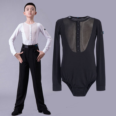 Boys latin dance shirt Boys national standard dance performance season long sleeve perspective performance children and big children Latin modern dance