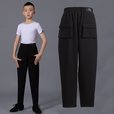 Boys latin dance pants Children Latin dance pants professional fashion front pocket boys national standard friendship dance training performance clothes