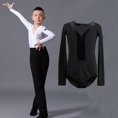 Boys latin dance shirt Boys Dance Costume long sleeve children and boys fashion V-neck national standard Latin dance Standard Test top