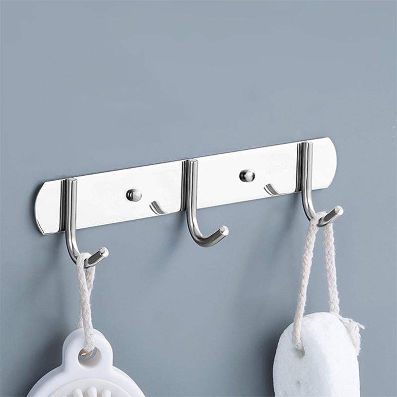 挂钩强力粘胶墙壁挂墙上厨房免打孔衣架卫生间一排毛巾浴室不锈钢