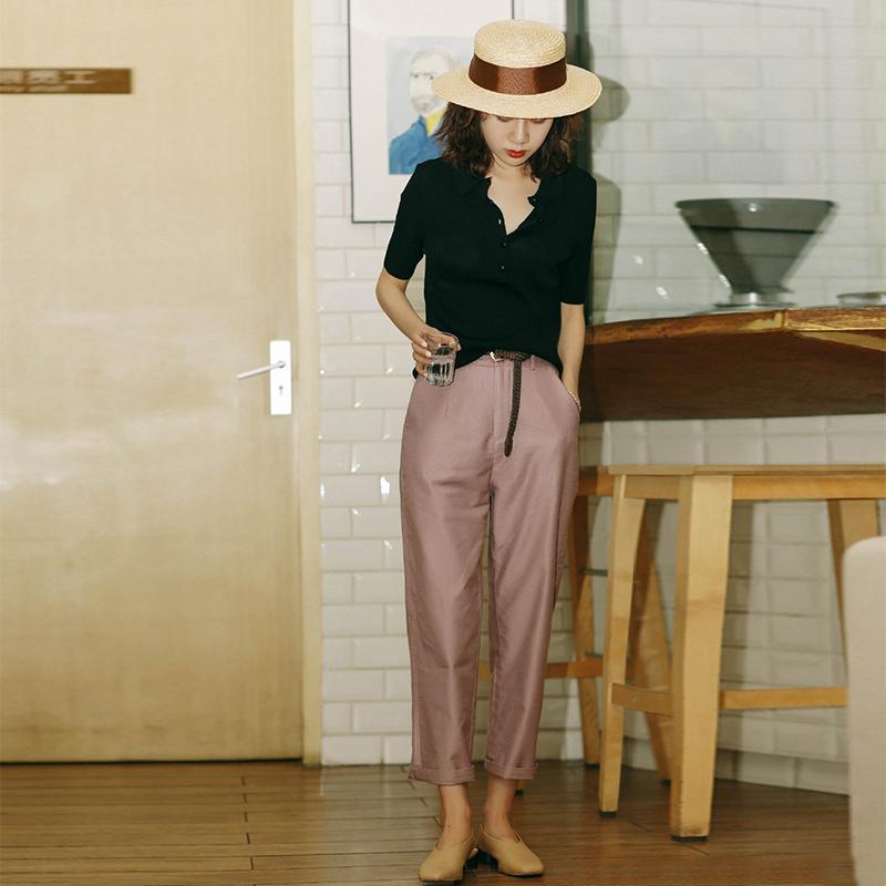 Jindian phù hợp với quần nữ mùa hè thời trang nữ quần retro thanh lịch quần chín điểm mỏng thẳng thẳng chân mỏng eo bình thường - Khởi động cắt