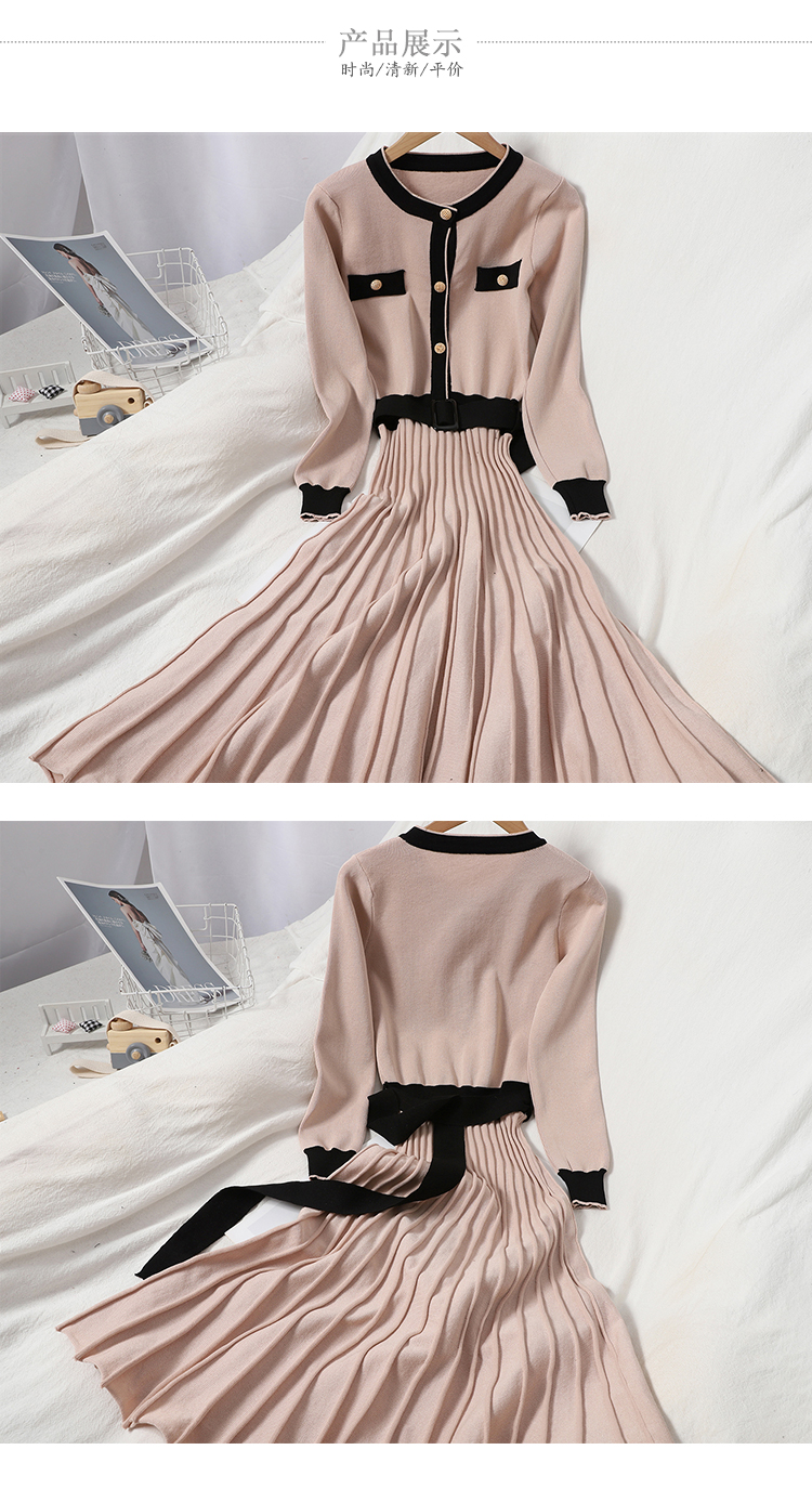 Autumn and winter new 100-year-old hit-and-line neckline button-down knitted dress show thin Korean version waist-length pleated skirt 14 Online shopping Bangladesh
