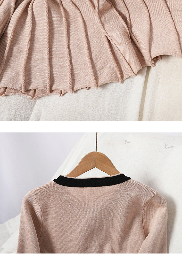 Autumn and winter new 100-year-old hit-and-line neckline button-down knitted dress show thin Korean version waist-length pleated skirt 18 Online shopping Bangladesh