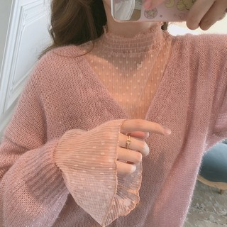Nihut gentle wave point pink chiffon stroke small fresh trumpet sleeve female loose bed long sleeve jacket female