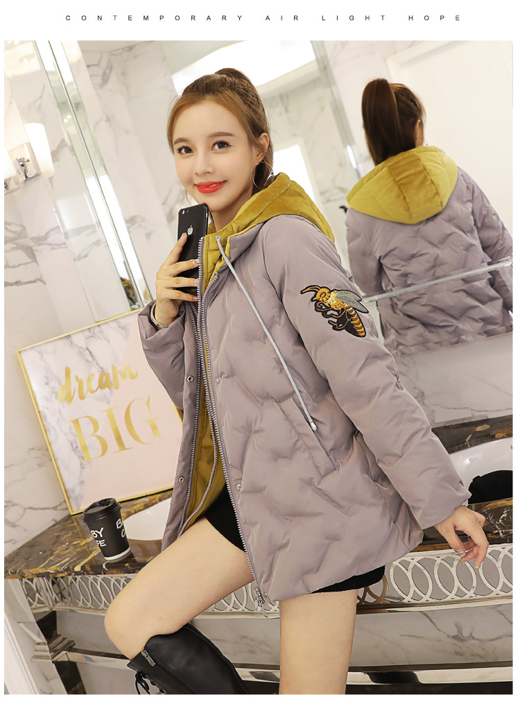 Deep degree 2019 autumn/winter clothing new large size women's autumn/winter fashion bee embroidered hooded cotton 2033 56 Online shopping Bangladesh