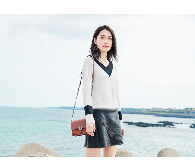 Đối thoại 2018 mùa thu mới V-Cổ áo len nữ Hàn Quốc phiên bản của các thiết lập của sinh viên dài tay loose knit đáy áo sơ mi
