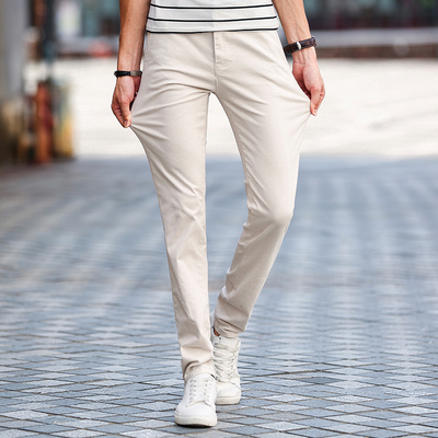Autumn men's elastic slacks male straight Slim trousers autumn and winter models men's business youth Korean men's pants