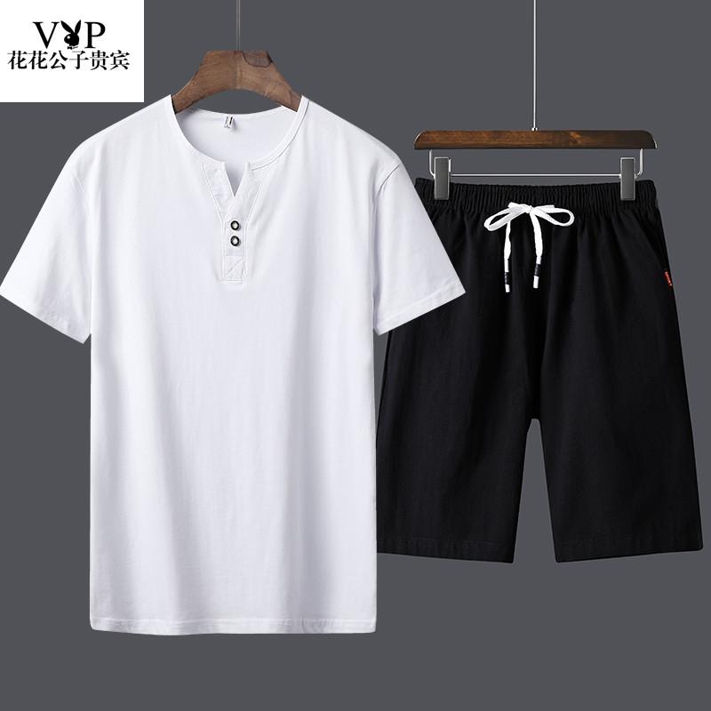 花花公子贵宾夏季棉麻短袖运动套装V领T恤男士短裤两件套休闲裤