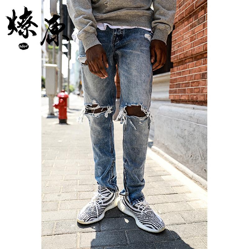 Колено ITSCLIMAX корпус Отверстия джинсы мужской голубой охват ноги в голени с замками Маленькие ноги приталенный для отдыха 乞丐 брюки прилива