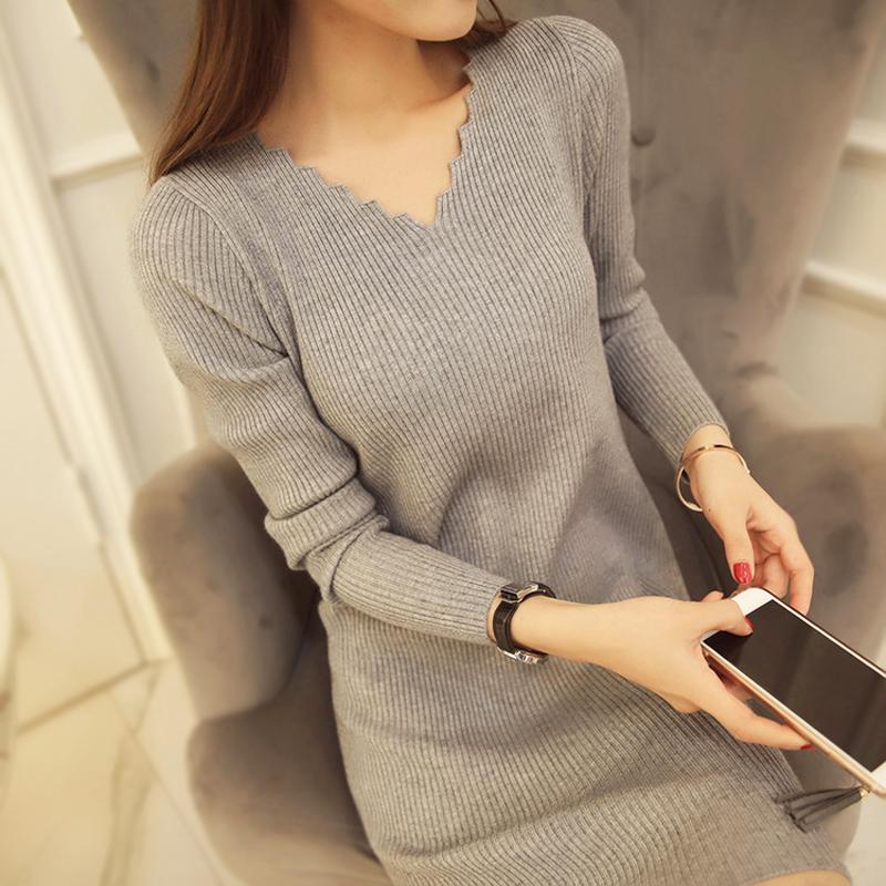 冬季连衣裙女 长款加厚长袖修身v领显瘦百搭针织羊绒衫打底裙毛衣