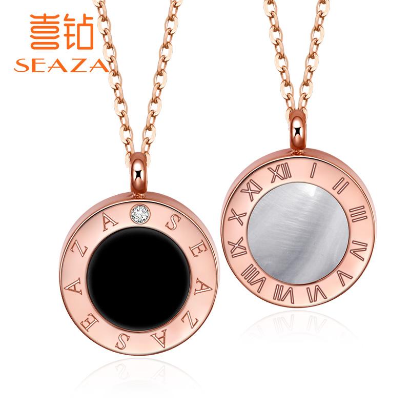 喜钻 一款两戴钻石项链女真钻吊坠时光印记罗马项坠时尚精致套链