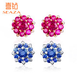 Hi diamond 18K rose gold group inlaid ruby ​​fashion earrings ladies color sapphire jewellery ear jewelry