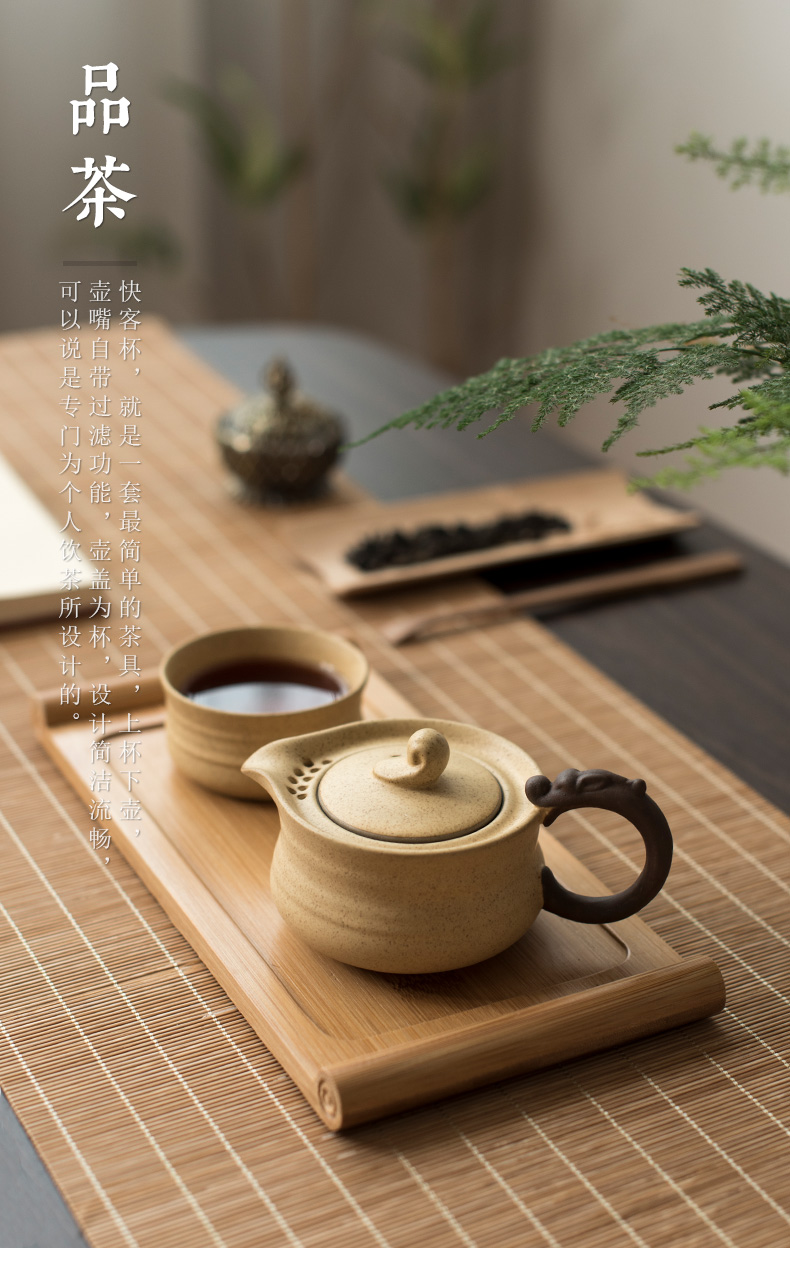 Poly real crack cup travel tea set suit portable retro scene coarse now pot of a cup of tea cup Japanese ceramic teapot