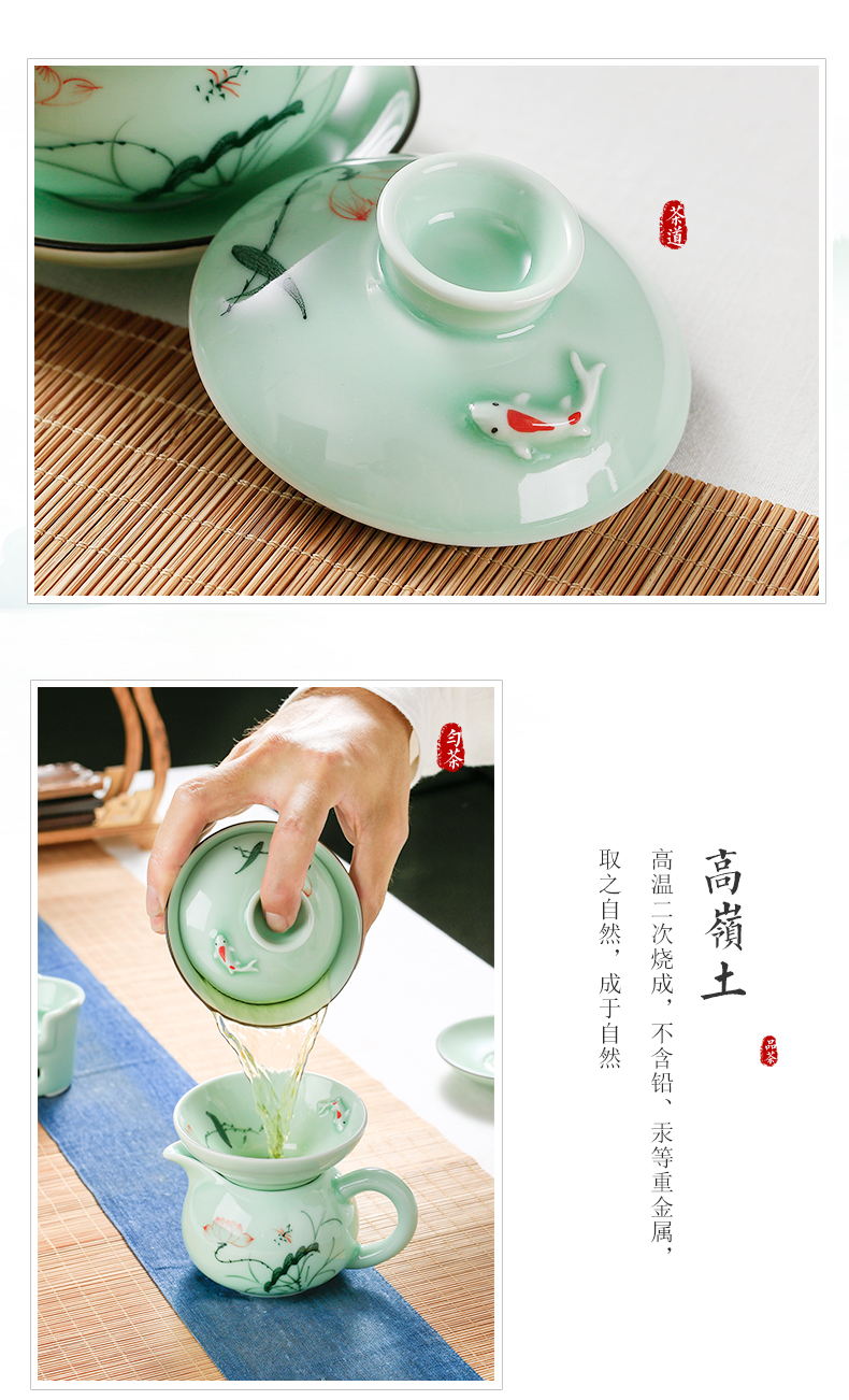 Ceramic kung fu tea set home sitting room office receives a visitor hand - made lotus cup tea tureen teapot