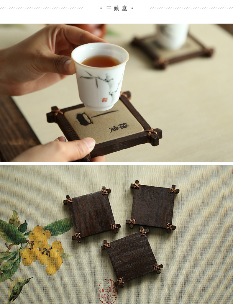 . Poly real boutique scene. Decoration ceramic tea set the cup holder, insulation pad hand - made tea saucer mat accessories S0401