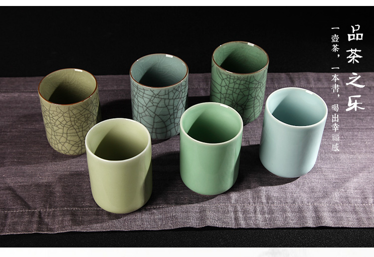 Poly real king brother celadon up on leisure tea cups kung fu tea set hand straight expressions using glass ceramic cups