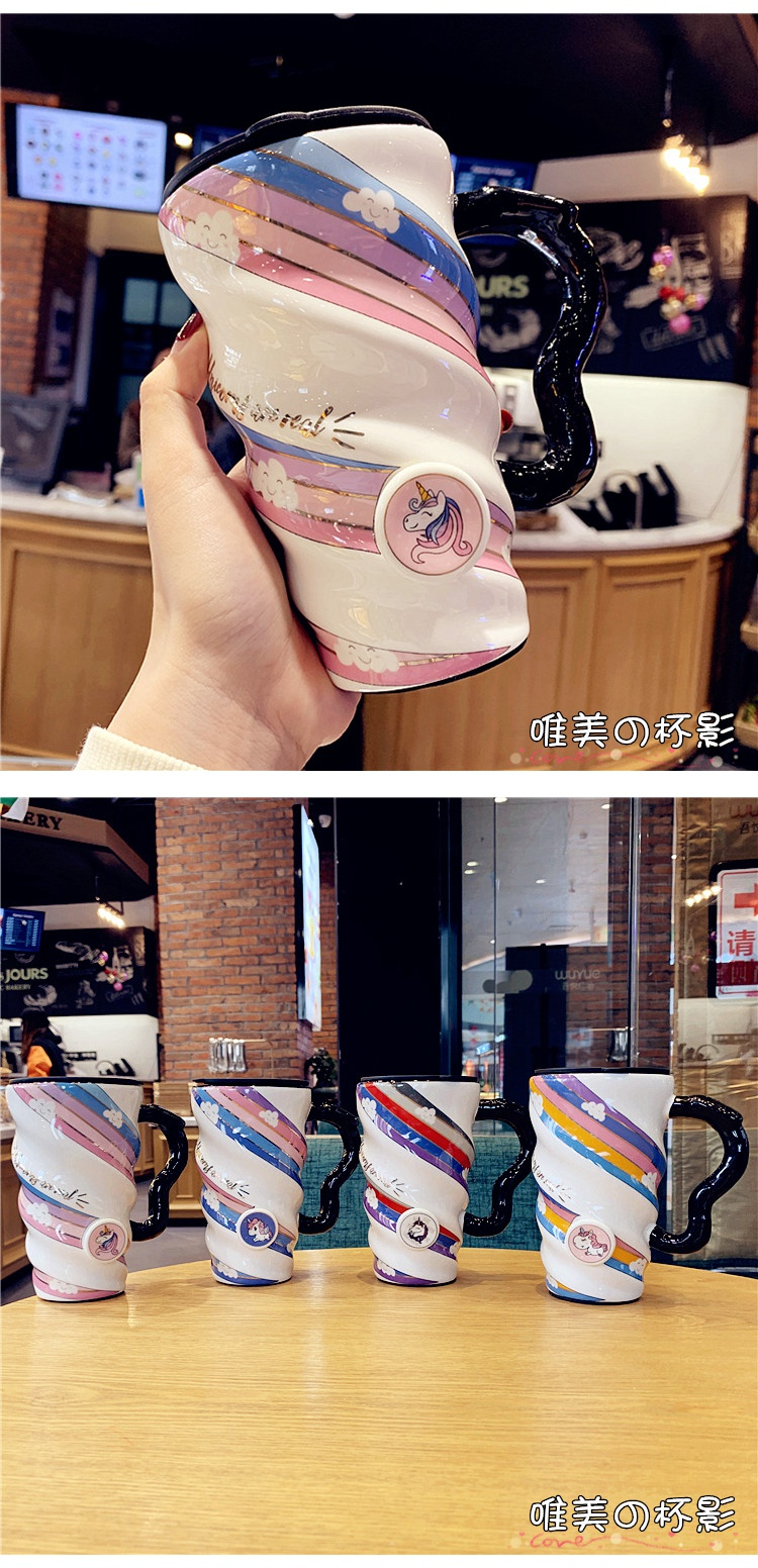 Creative move high - capacity red coffee mugs net with cover household drinking water cups ceramic cup express it in female students