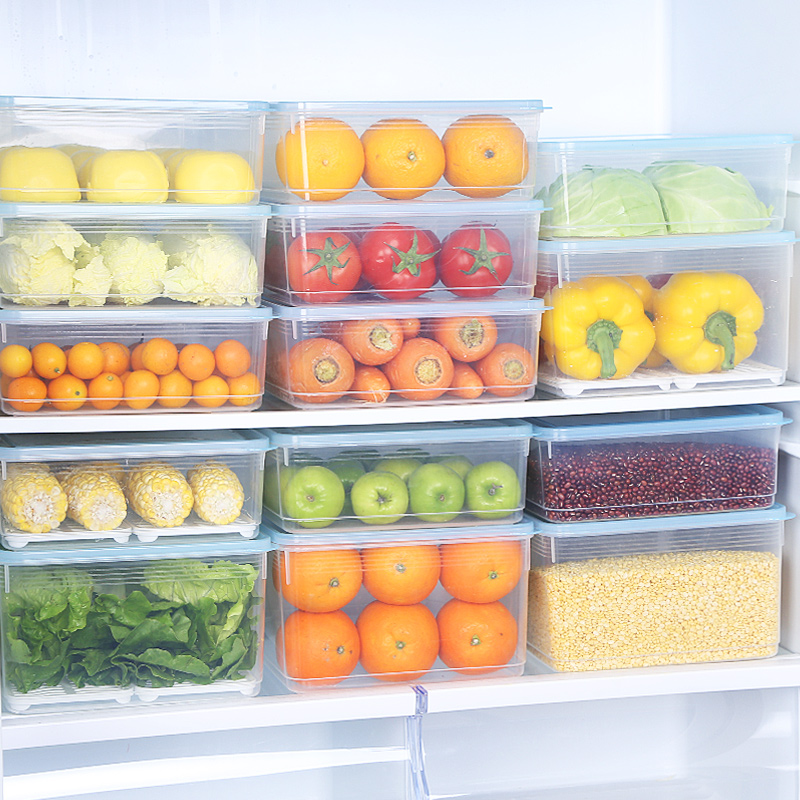 冰箱储物盒长方形塑料密封盒子冷冻大号食品水果抽屉式保鲜收纳盒