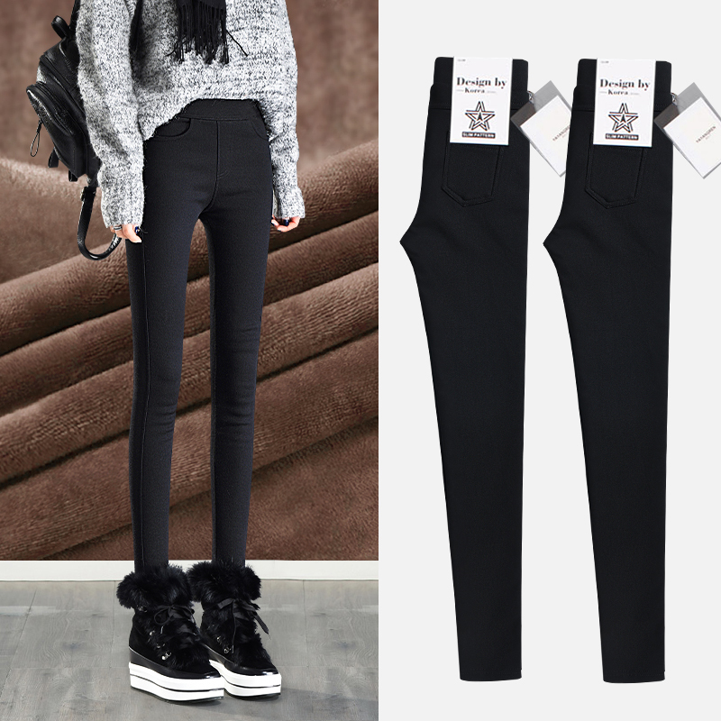 Plus velvet thickening leggings women wear 2018 autumn and winter new warm black feet pencil magic cotton pants