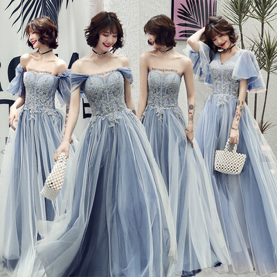 Blue bridesmaid clothing 2021 new spring fairy temperament long sister group evening dress winter skirt female Sen is thin